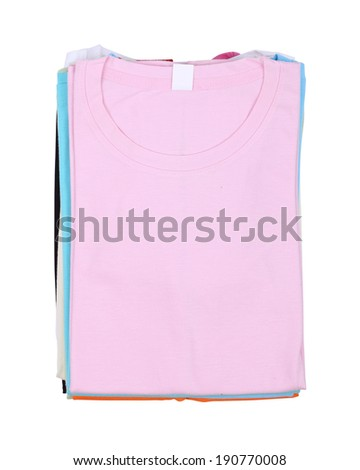 stack of colorful folded t-shirt isolated on white background (with clipping path)
