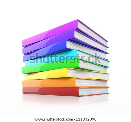 Stack of colorful glossy books. High resolution illustration isolated on white. - stock photo