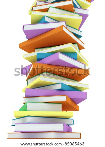 Stack of colorful Hardcover Books on white
