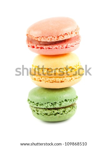 Stack of colorful macaroons on the white background - stock photo