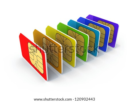 Stack of colorful phone SIM cards isolated on white background with shadow. 3d render illustration