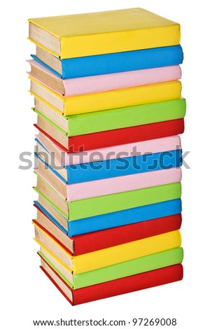 Stack of colorful real books. Isolated on white background. side view - stock photo