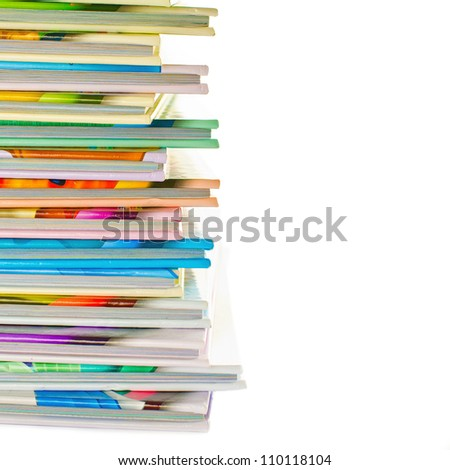 Stack of colorful real books on white background. - stock photo