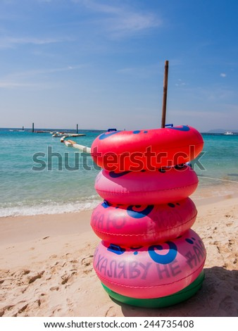 Stack of colorful  Rubber rings - stock photo