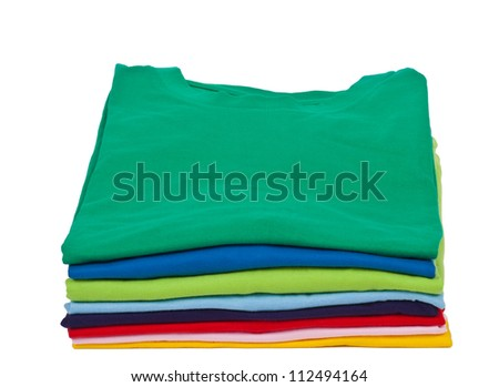 stack of colorful short sleeves t shirts - stock photo