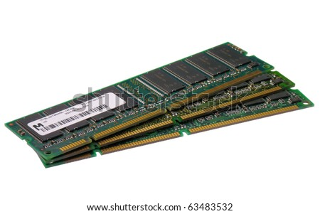 Stack of computer memory modules isolated on a white background - stock photo