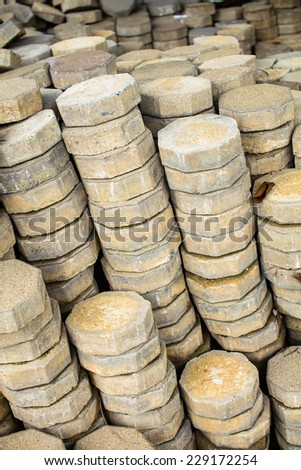 Stack of concrete pave block - stock photo