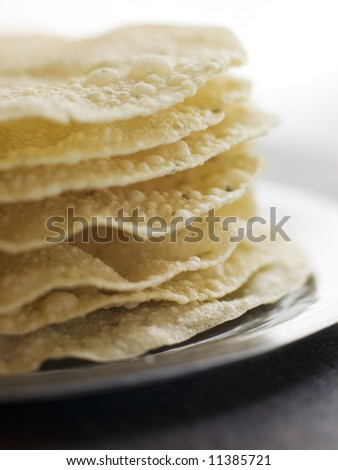 Stack of cooked Papadoms