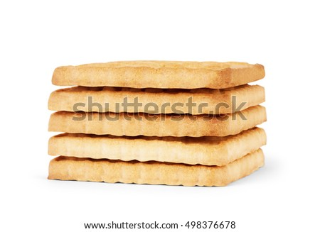 Stack of cookies isolated on white background