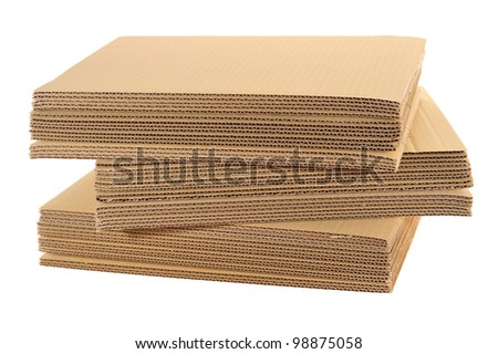 Stack Of Corrugated Boards Isolated On White Background - stock photo