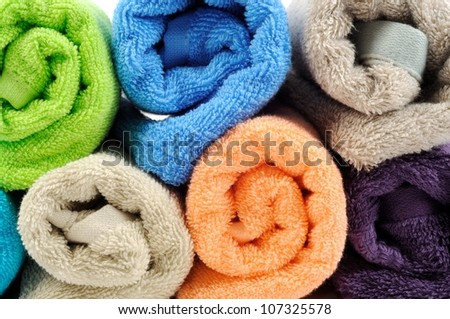 Stack of cotton colorful towels  , background - stock photo