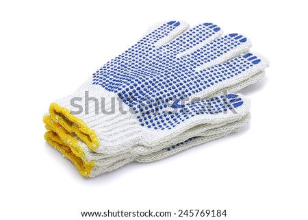 Stack Of Cotton Gloves On White Background - stock photo