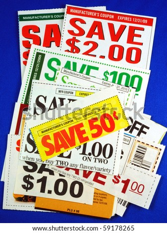 Stack of coupons concepts of saving money - stock photo
