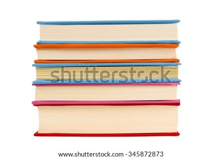 Stack of covered books showing pages/ Neatly Stacked Books Isolated