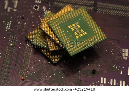 Stack of CPU processor and Circuit board / Motherboard. Electronic computer hardware technology. Motherboard digital chip. Tech science. Information engineering component.  - stock photo
