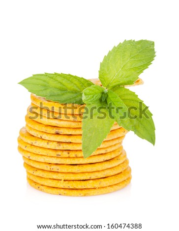 Stack of crackers with mint. Isolated on white background - stock ...