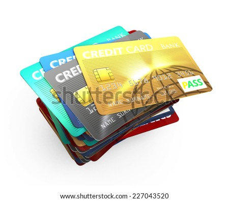 Stack of Credit card isolated on white background - stock photo