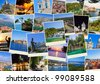 Stack of Croatia travel photos  - nature and travel background - stock photo