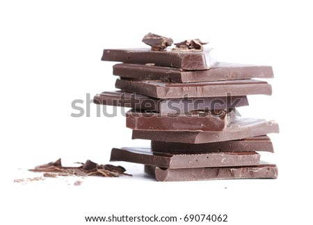 Stack of dark chocolate isolated on white