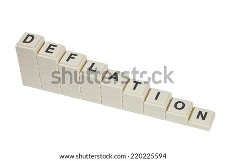 Stack of decreasing blocks showing the word DEFLATION isolated on white background  - stock photo