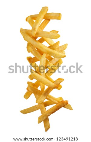 Stack of delicious french fries - stock photo
