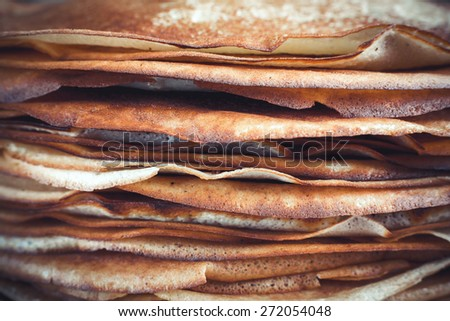 Stack of delicious pancakes fried closeup crepes