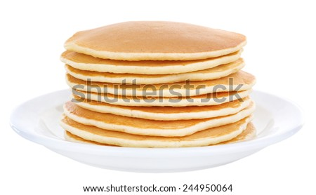 Stack of delicious pancakes on plate isolated on white - stock photo