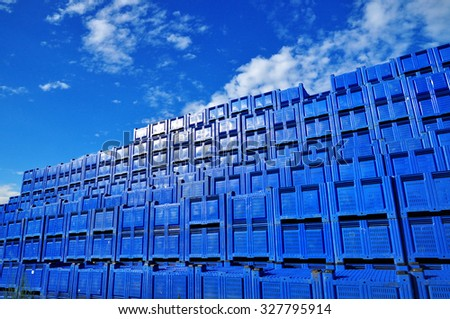 Stack of delivering boxes, stock capacity - stock photo