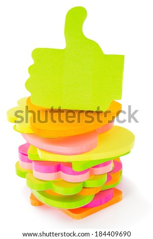 Stack of different shape and colors blocks of memo sticks, isolated on white background - stock photo