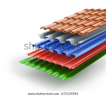 Roof sheets stock images royalty free images vectors for Types of roofing materials
