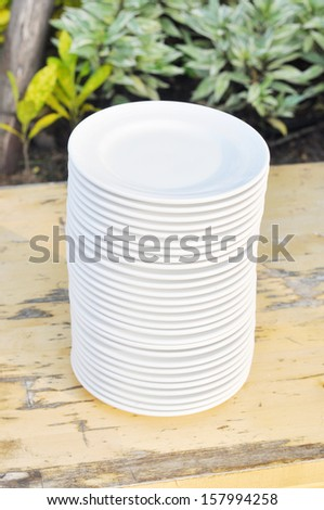 stack of dishes - stock photo