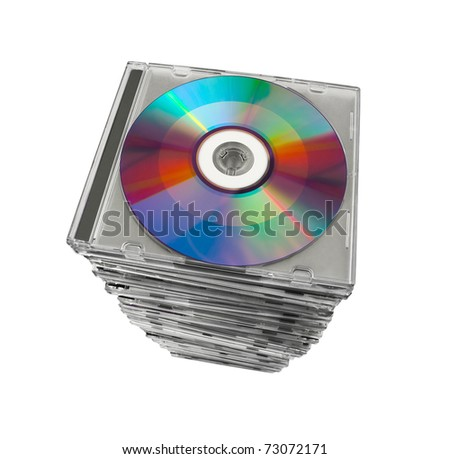 Stack of disks isolated on white background