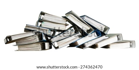 Stack of documents in binders, isolated on white background - stock photo