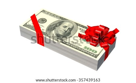 stack of 100 Dollar bank notes with red ribbon