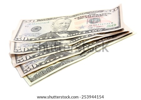 Stack of dollar banknotes isolated on white background. - stock photo