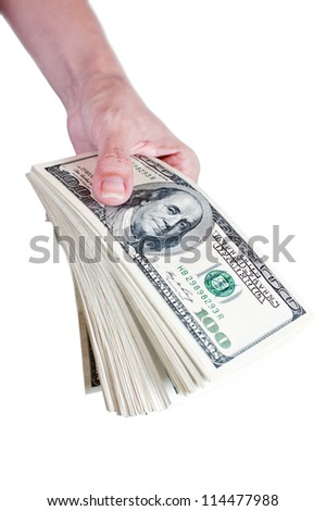 Stack of dollar bills in woman hand