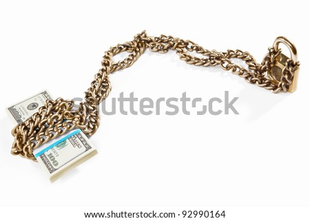 Stack of  100 dollar bills with golden chain and padlock, concept for financial security
