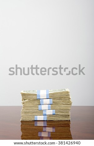 Stack of dollar notes - stock photo