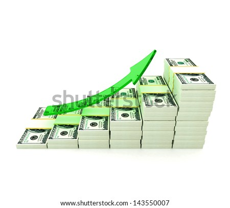 Stack of dollars and growing arrow. Conceptual illustration. Isolated on white background. 3d render