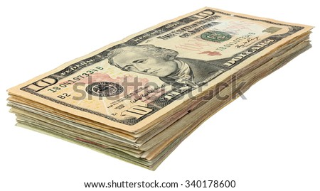 Stack of dollars banknotes isolated on white background - stock photo
