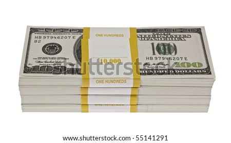 Stack of dollars,isolated on white with clipping path. - stock photo