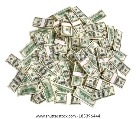 Stack of dollars / studio photography of American moneys of hundred dollar  - stock photo