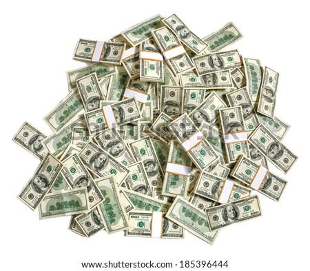 Stack of dollars / studio photography of American moneys of hundred dollar  - stock photo