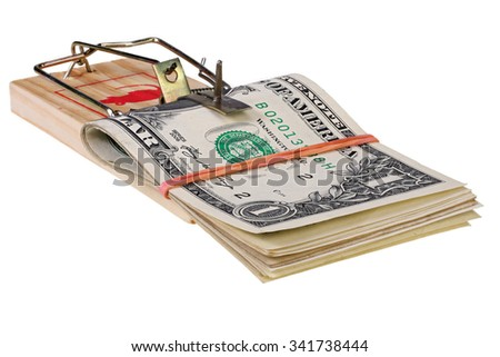 stack of dollars with elastic band in the mousetrap isolated on white with Clipping Path - stock photo