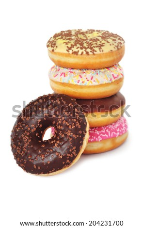Stack of donuts, isolated on white - stock photo