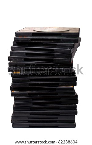 stack of dvd on white with shadow