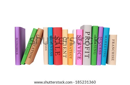 stack of education books isolated on white background