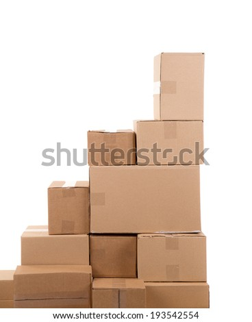 Stack of empty boxes. Isolated on a white background. - stock photo