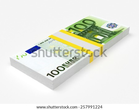 Stack of Euro banknotes on white isolated background - stock photo