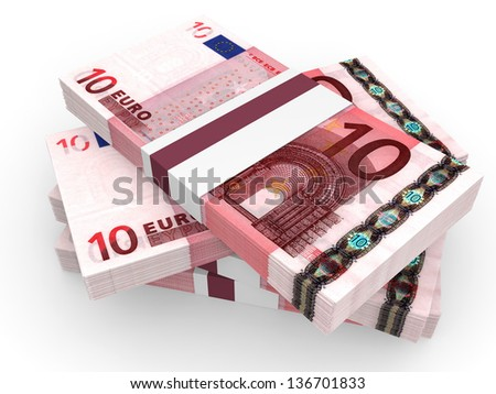Stack of EURO banknotes. Ten euro. 3D illustration.